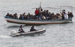 File picture showing migrants from North Africa arriving at the southern Italian island of Lampedusa
