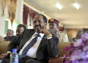 Somali President Hassan Sheik Mohamud attends at the conference for the South West regions of Somalia comprising of Bay,Bakool and Lower Shabelle regions which was officially opened by him in Baidoa, Somalia on October 28 ,2014. UN Photo / Ilyas A. Abukar